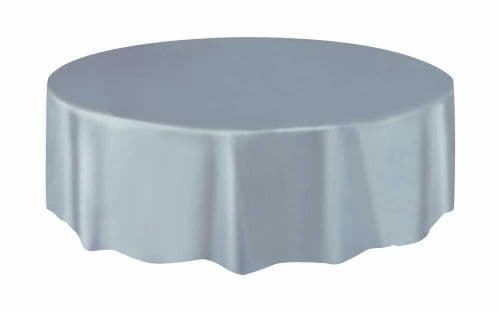 Silver Round Plastic Tablecloths Christmas Table Cloths 7ft (2.13m) Table Cover